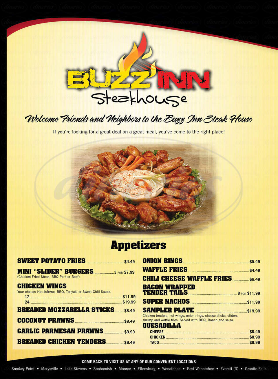 menu for Buzz Inn Steakhouse & Lounge