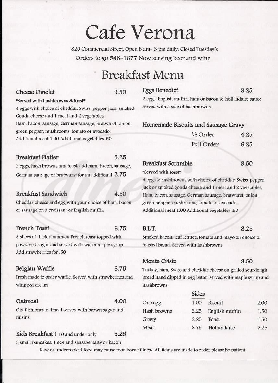 menu for Cafe Verona