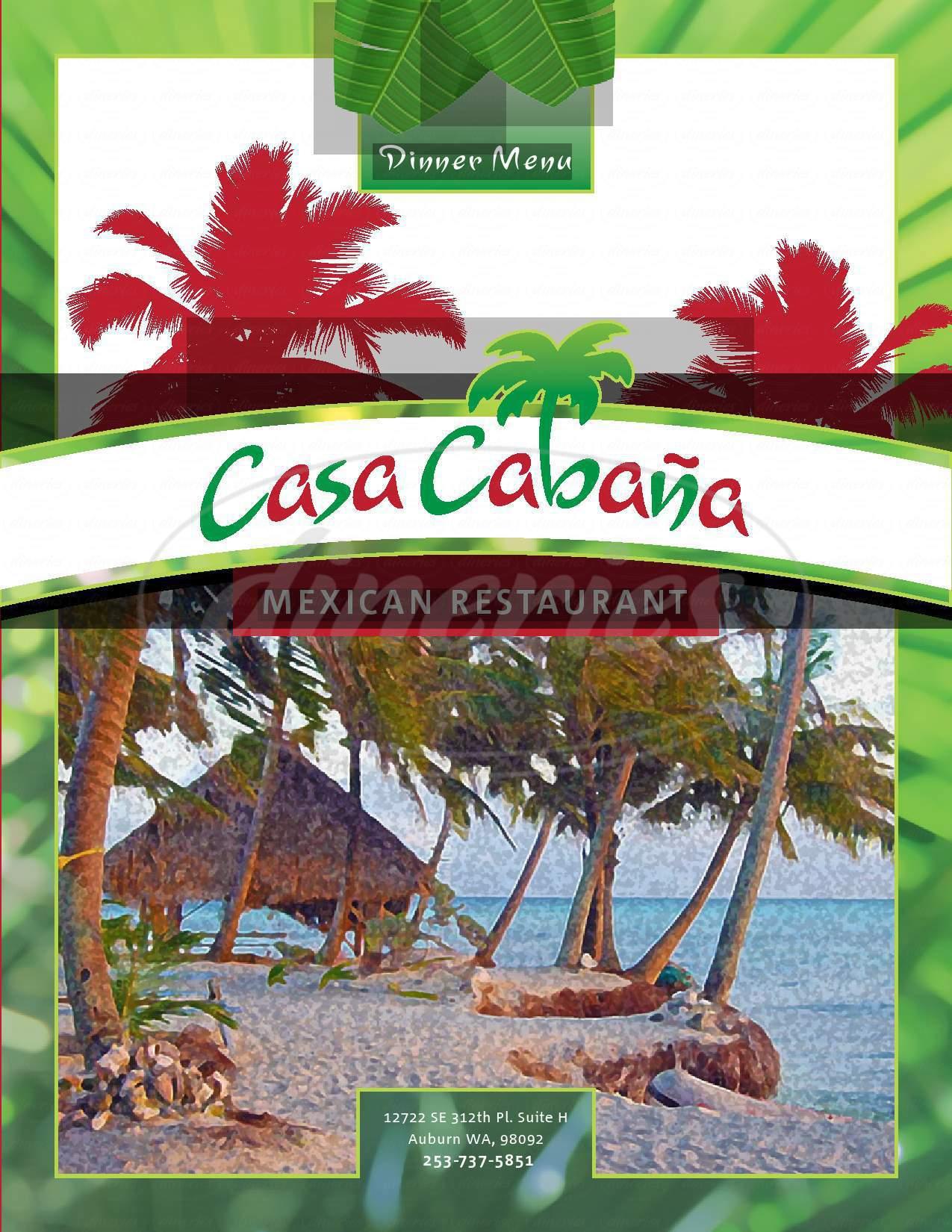 menu for Casa Cabana