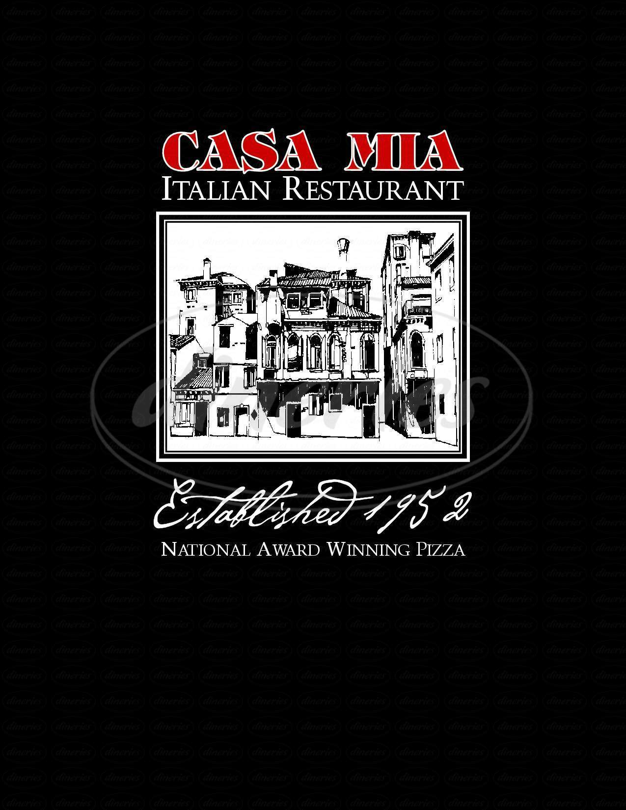 menu for Casa Mia of Kennewick