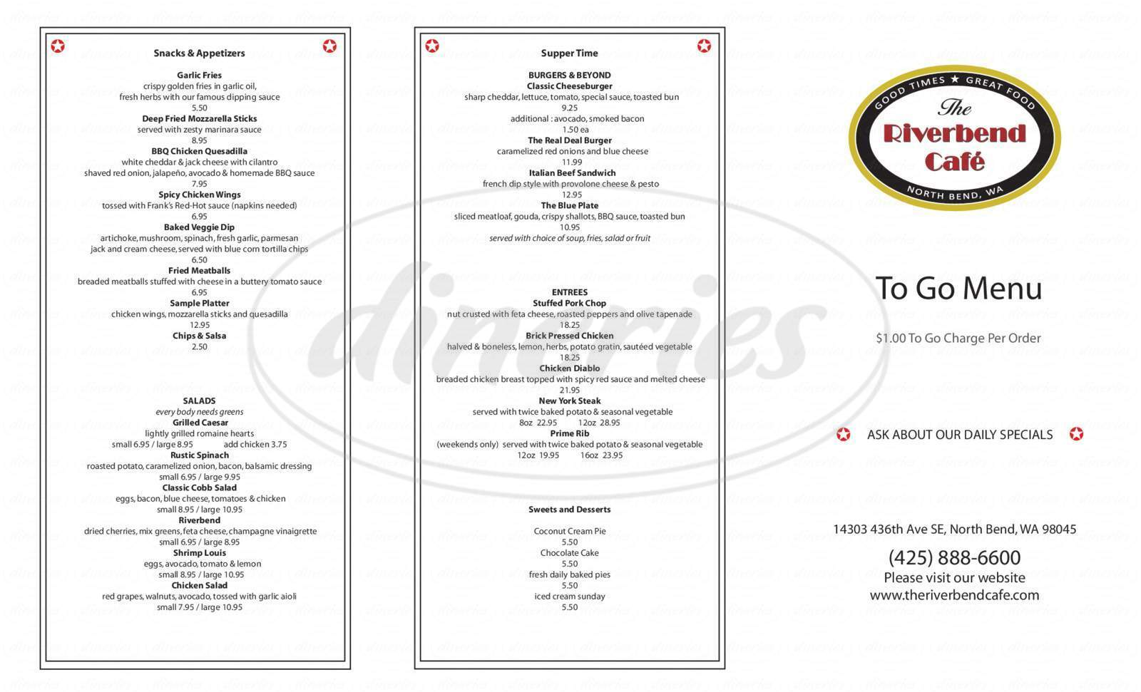 menu for Cascade Golf Course