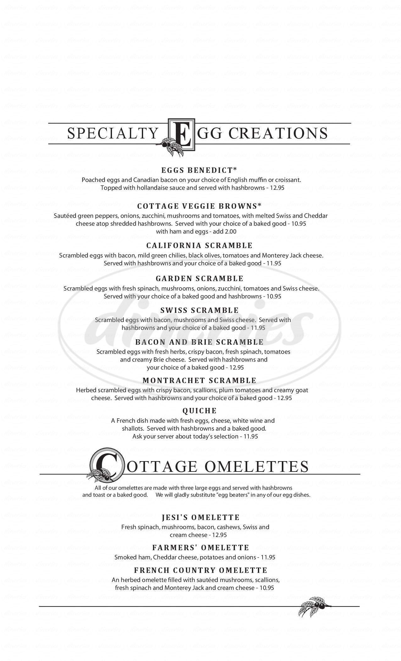 menu for Chestnut Cottage Restaurant