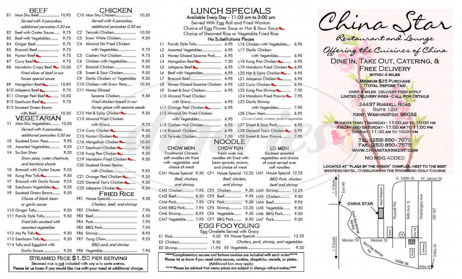 menu for China Star