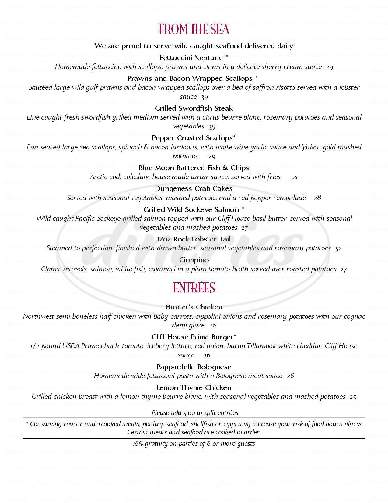 menu for The Cliff House