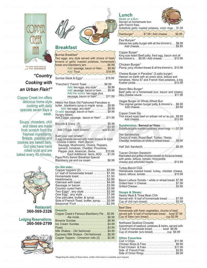 menu for Copper Creek Restaurant