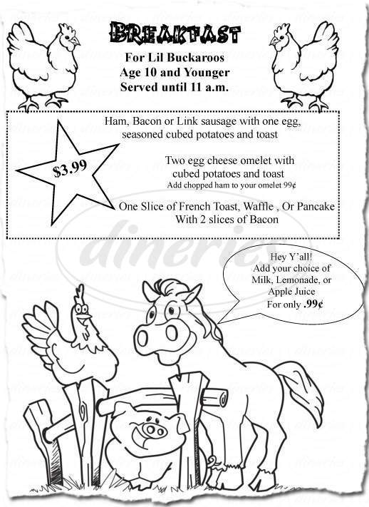 menu for Country Cousin