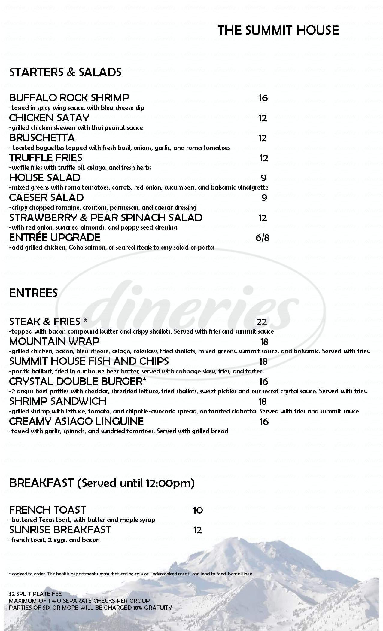 menu for Summit House Restaurant