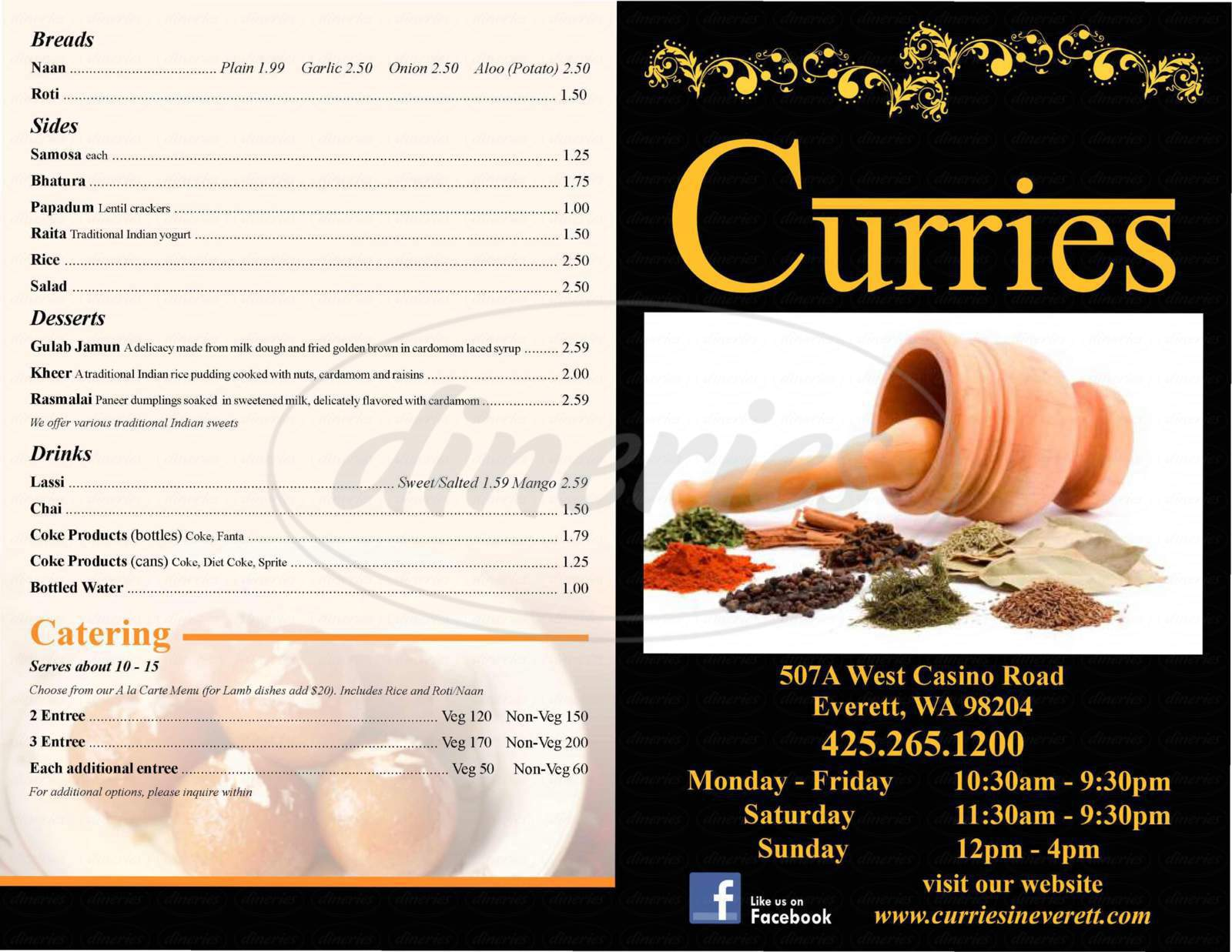 menu for Curries