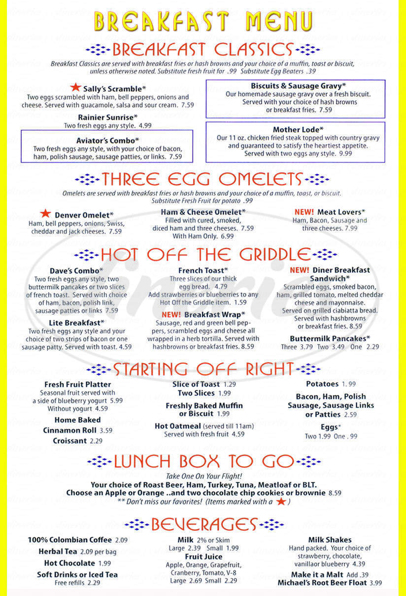 menu for Dave's Diner & Brews