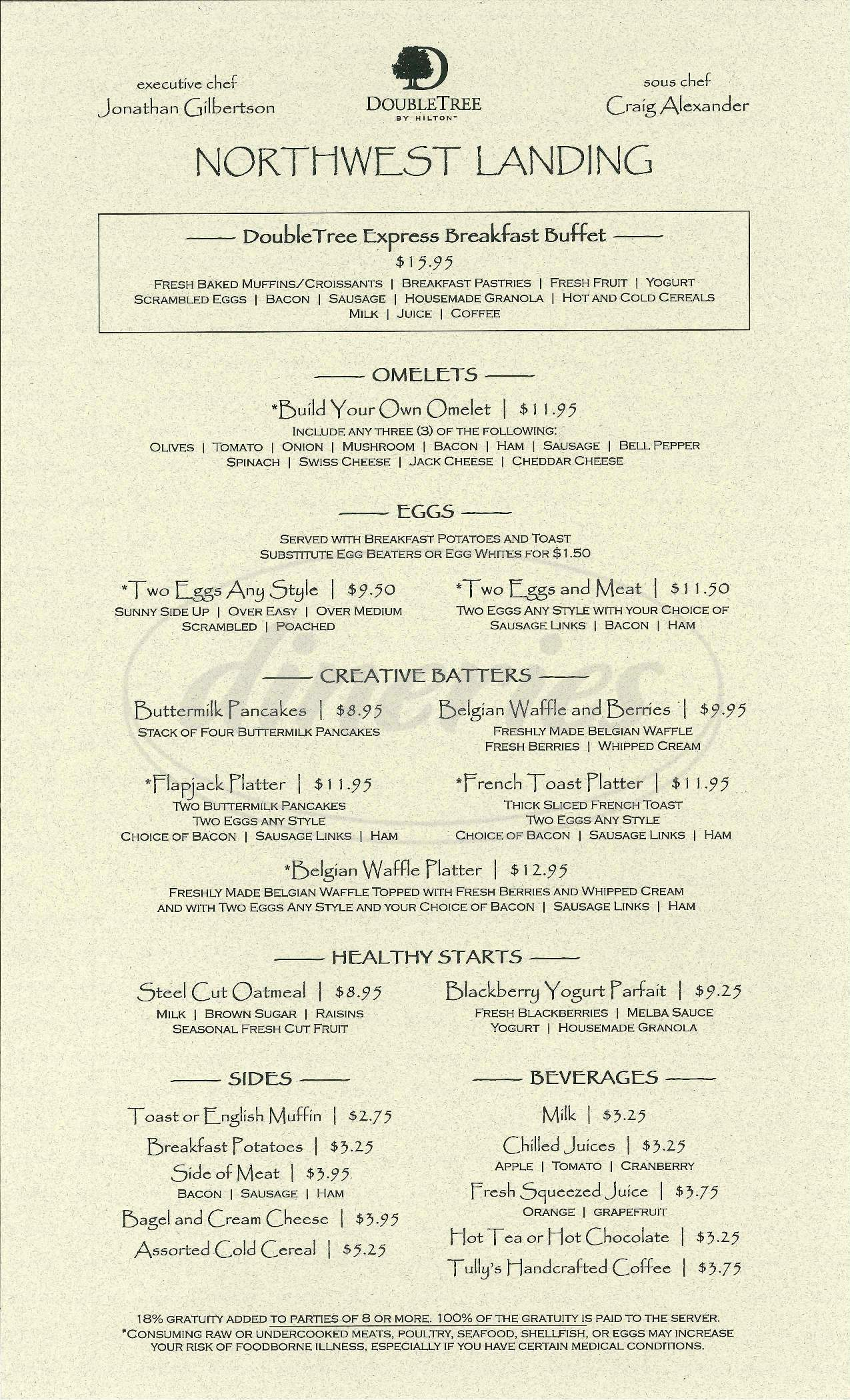 menu for Doubletree Suites Seattle Airport/Southcenter