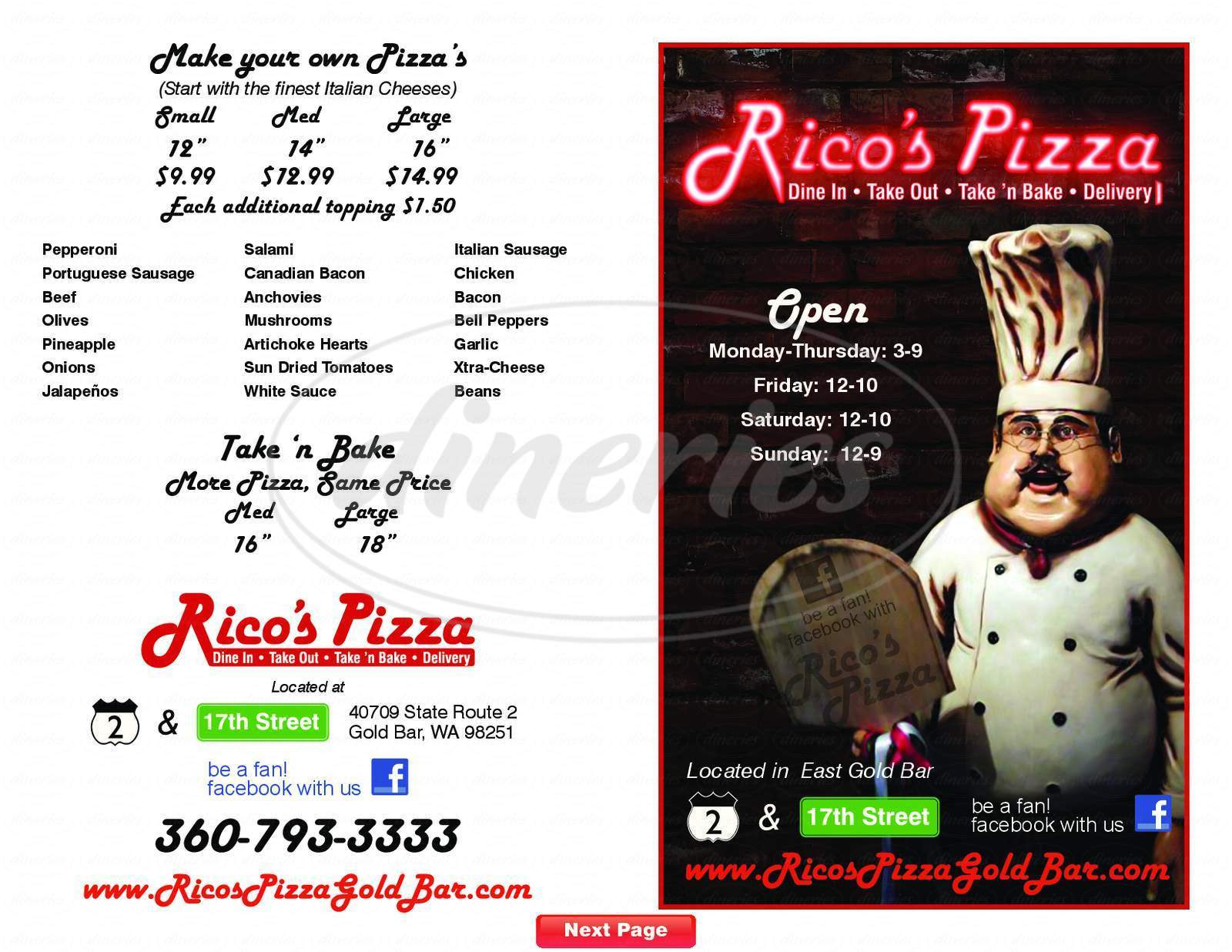 menu for Rico's Pizza