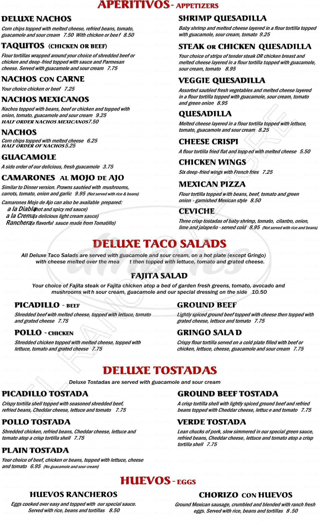 menu for El Rancho Alegre