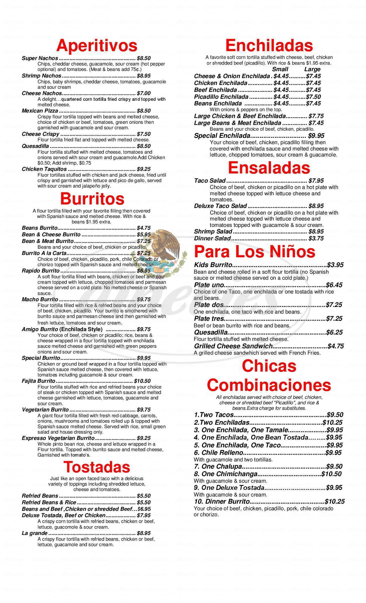 menu for El Rinconcito 2