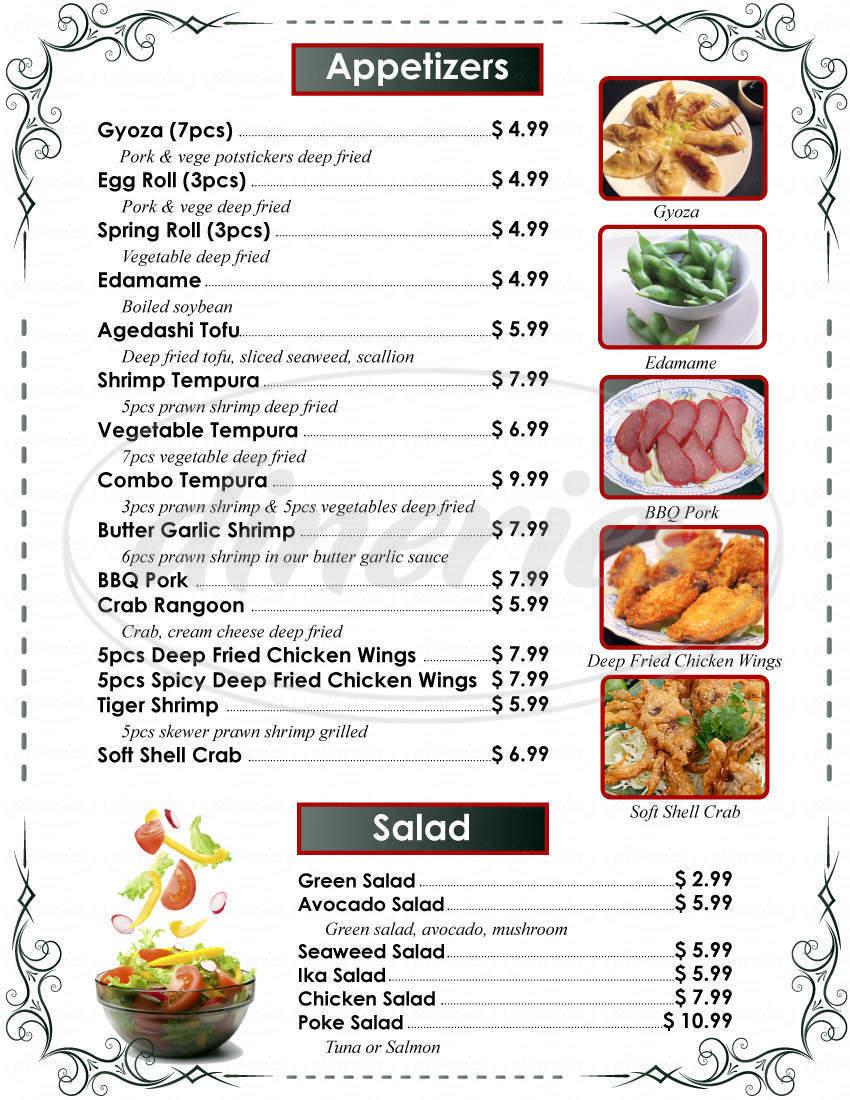 menu for Fife Teriyaki