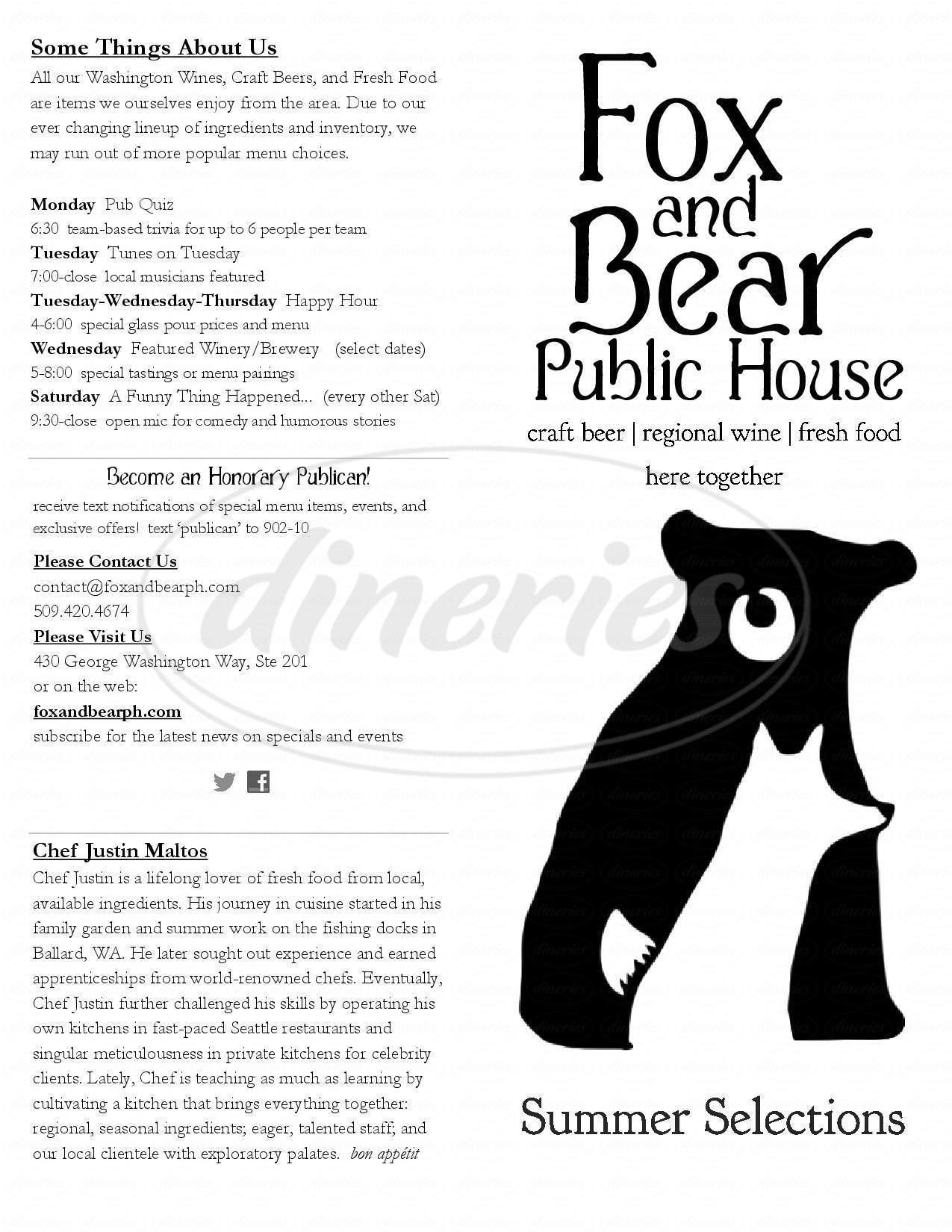 menu for Fox and Bear Public House