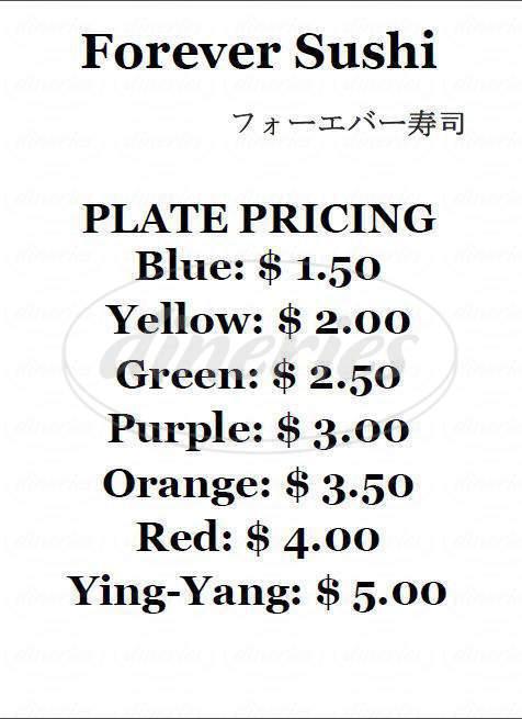 menu for Forever Sushi