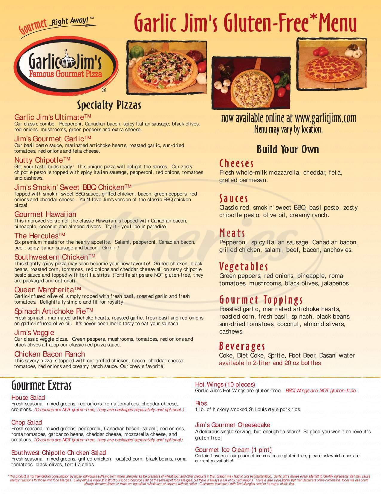 menu for Garlic Jim's Famous Gourmet Pizza
