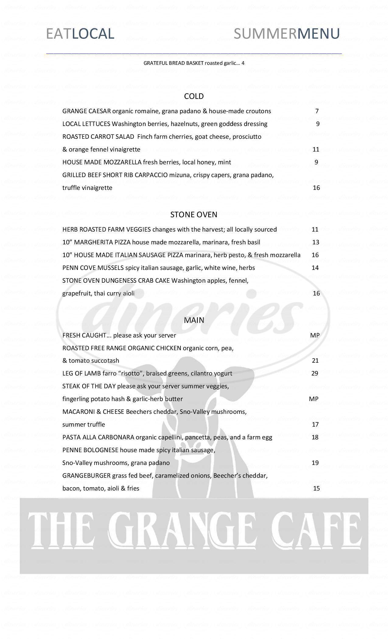 menu for The Grange Cafe