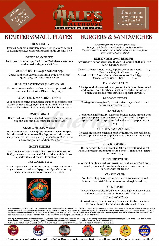 menu for Hale's Ale House