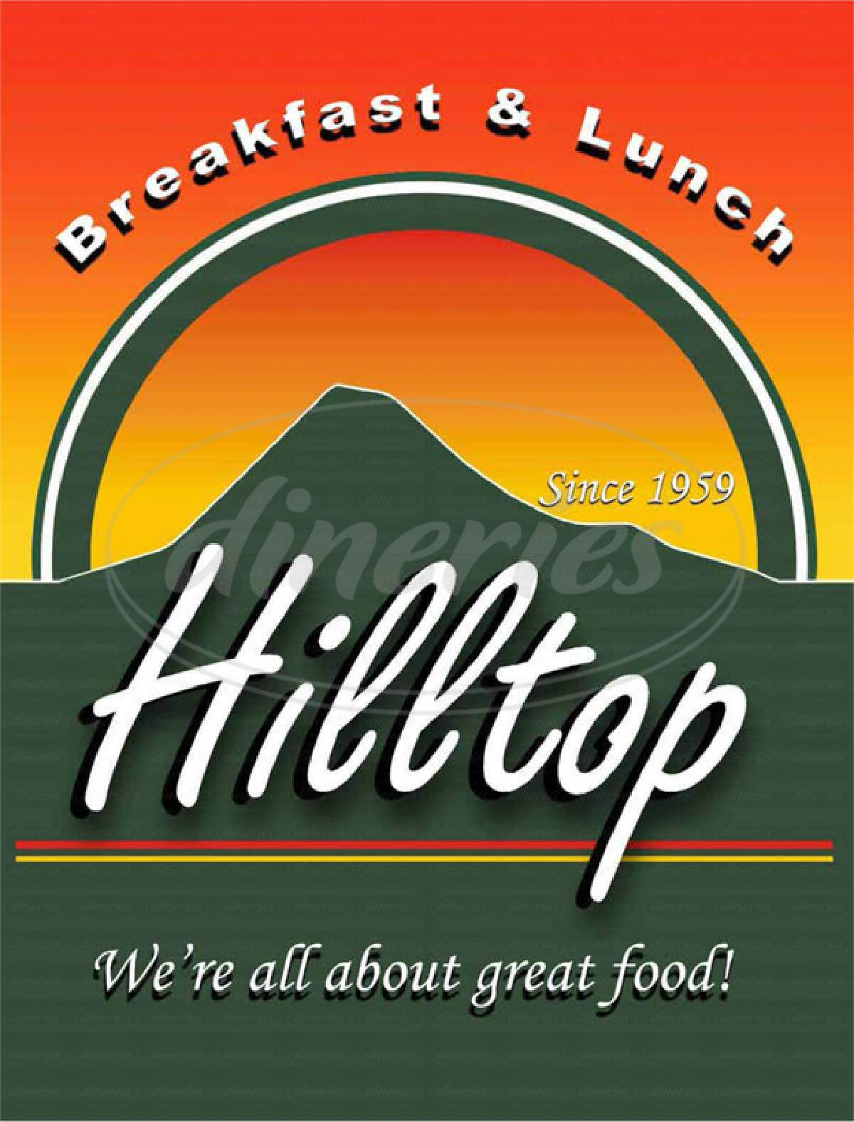 menu for Hilltop Restaurant