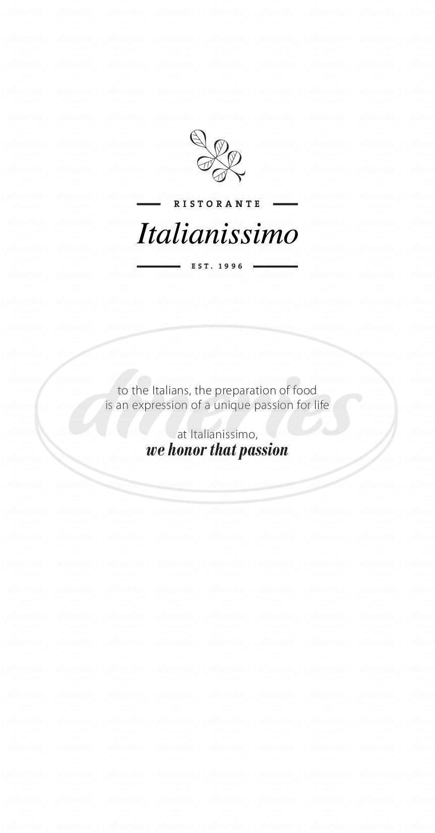 menu for Italianissimo Ristorante