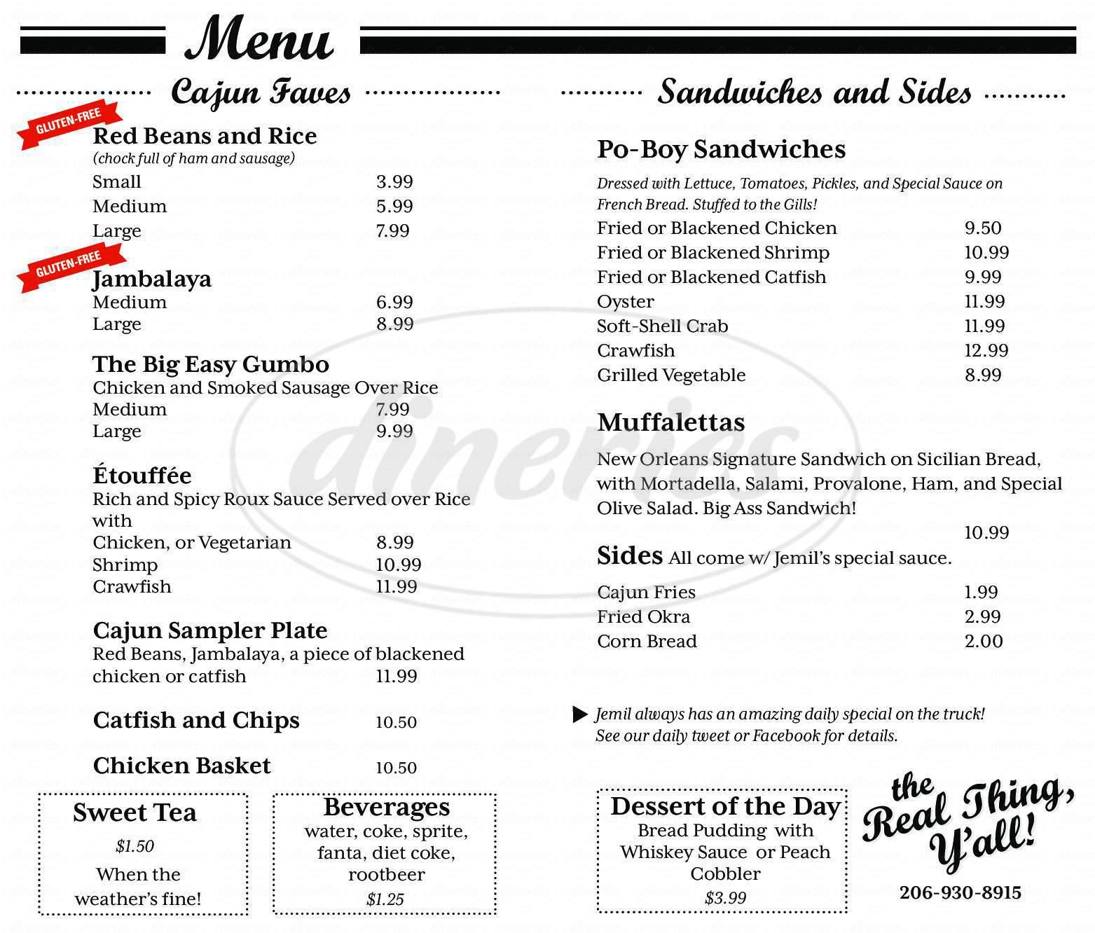 menu for Jemil's Big Easy