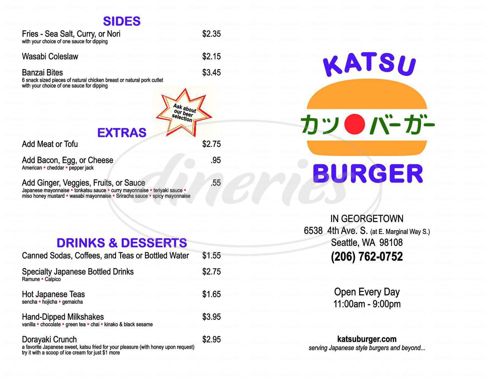 menu for Katsu Burger