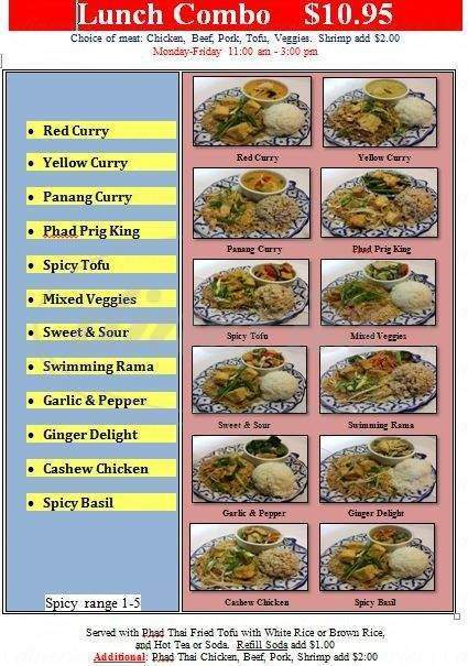 menu for Lai-Thai Restaurant