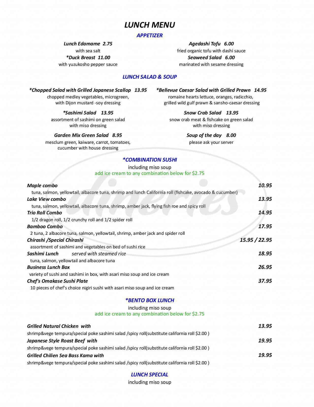 menu for I Love Sushi
