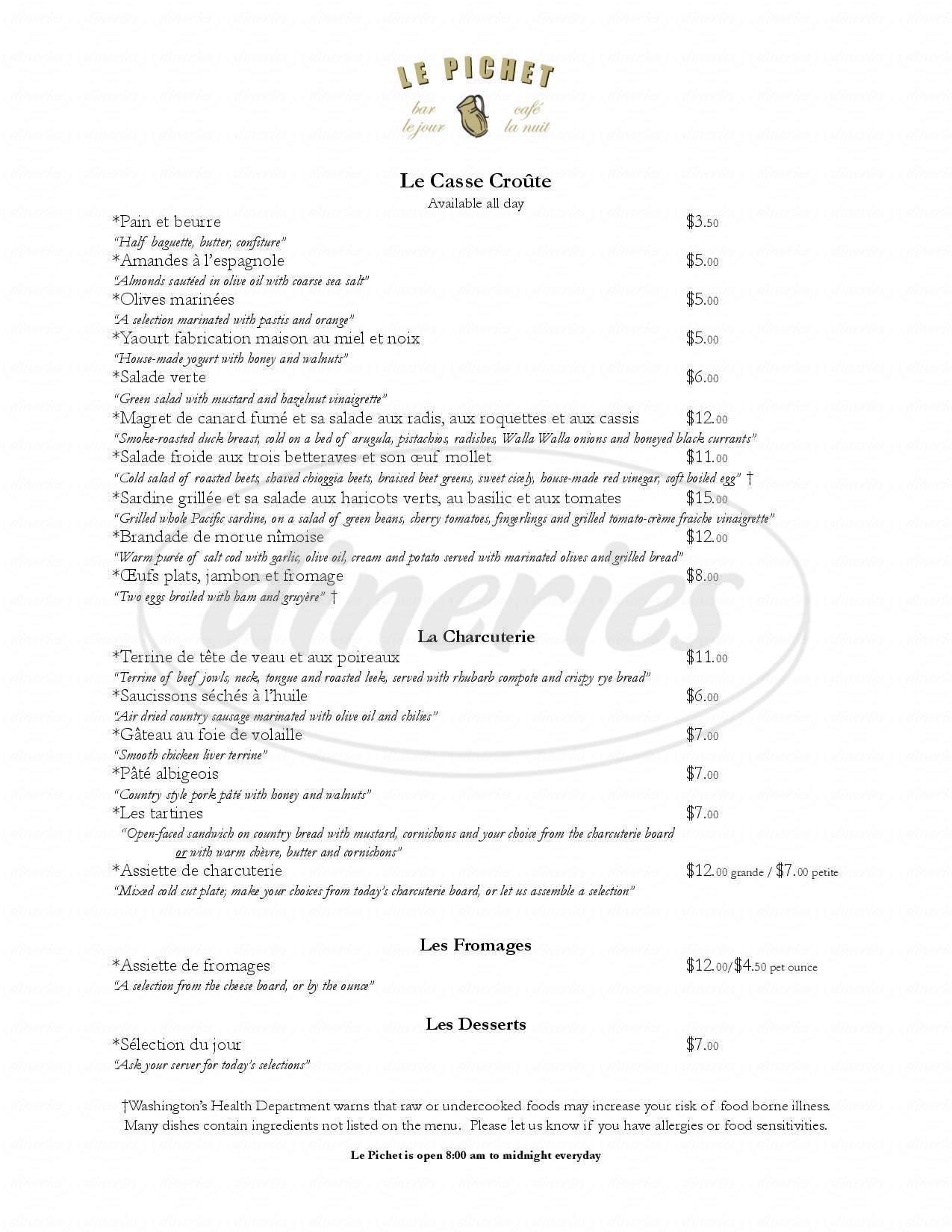 menu for Le Pichet