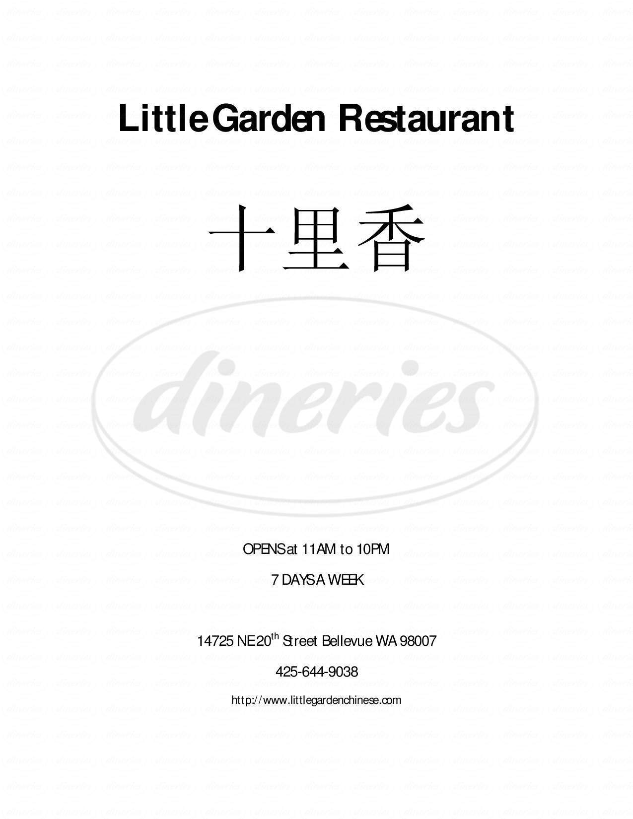 menu for Little Garden