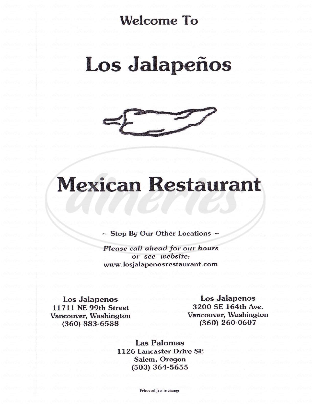 menu for Los Jalapenos