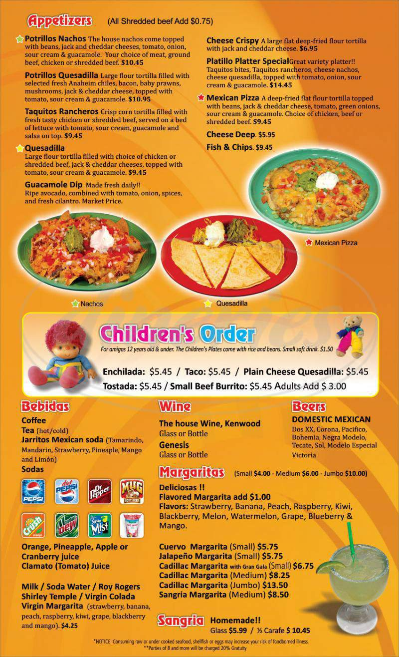 menu for Los Potrillos Mexican Restaurant