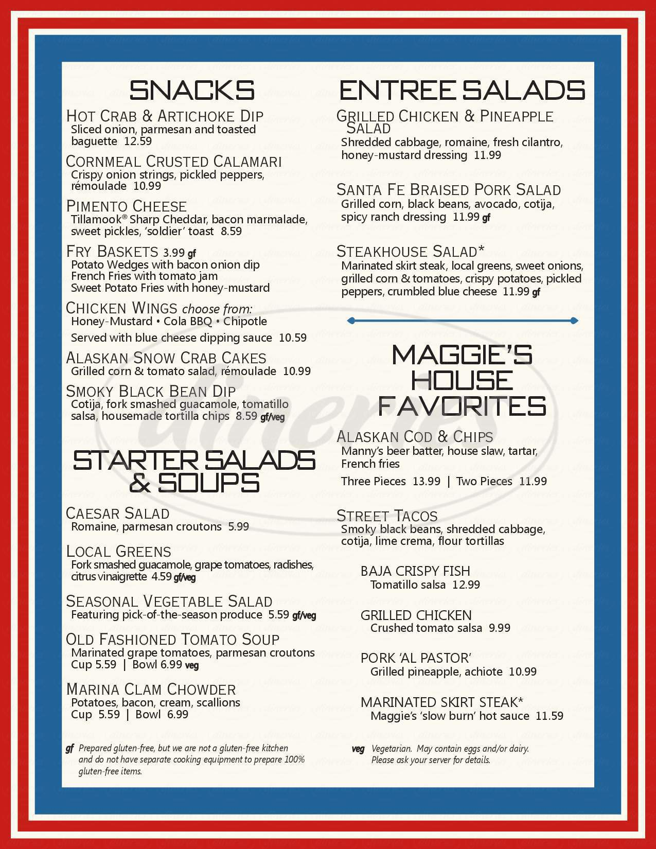 menu for Maggie Bluffs