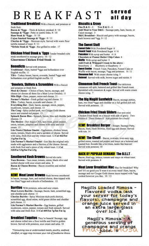 menu for Magills @ the Uptown