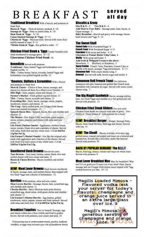 menu for Magills @ the Uptown