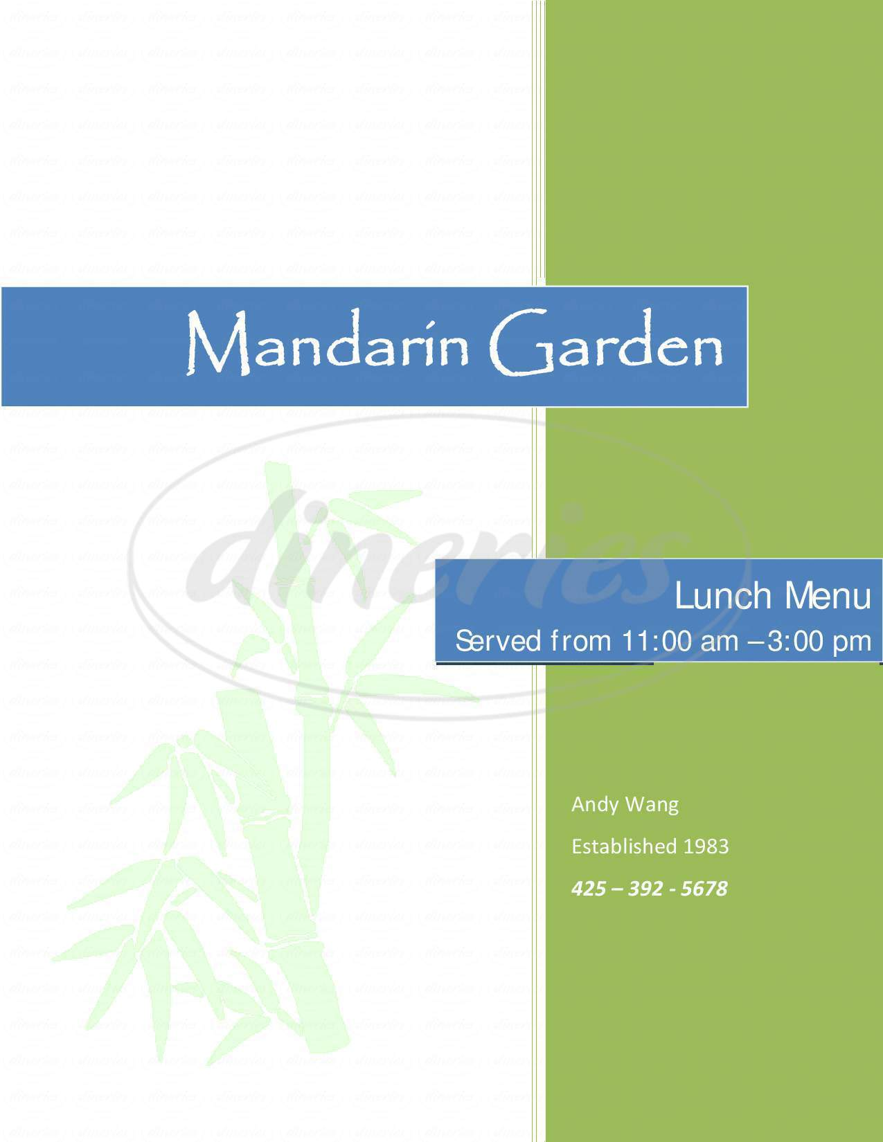 menu for Mandarin Garden