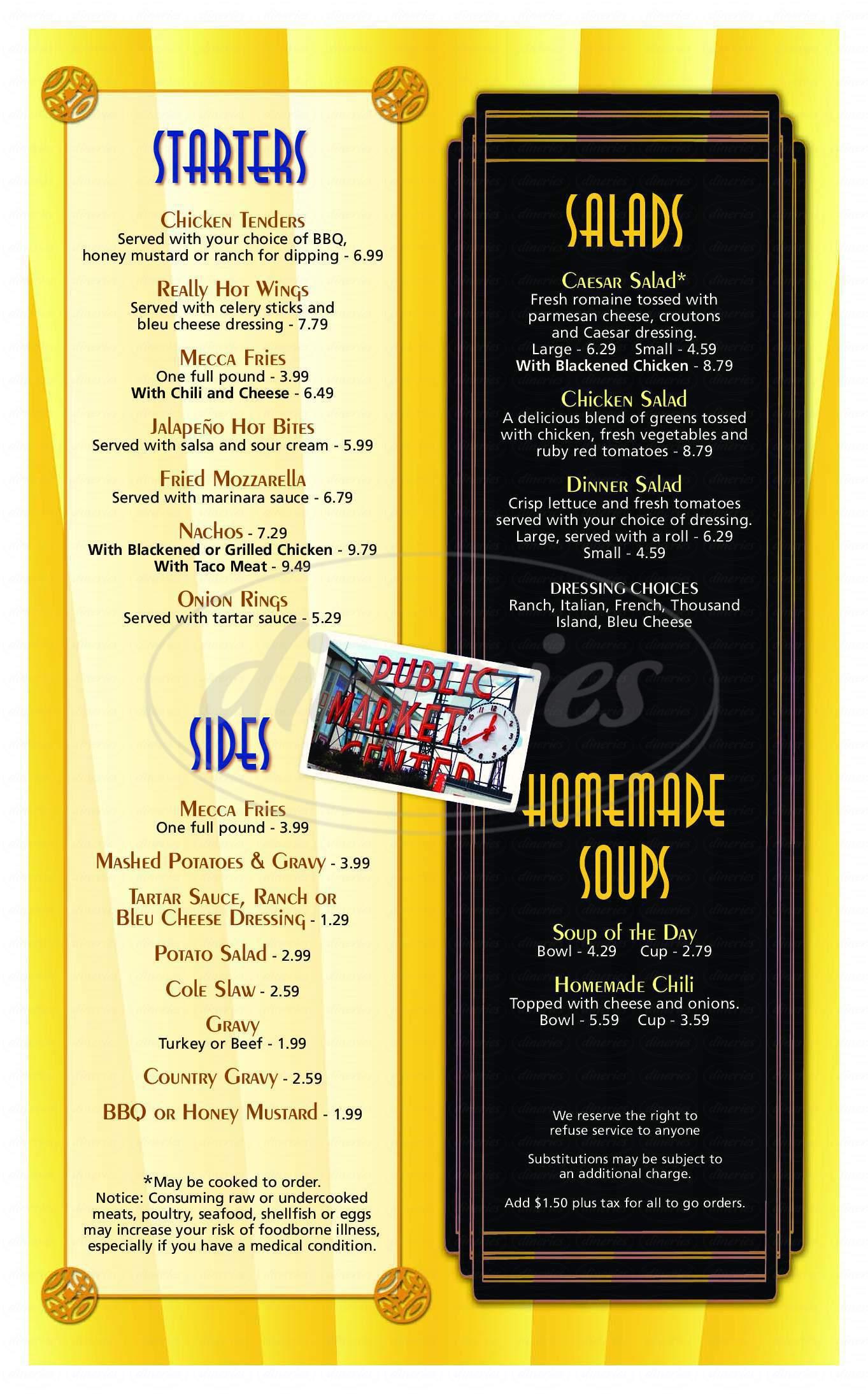 menu for Mecca Cafe