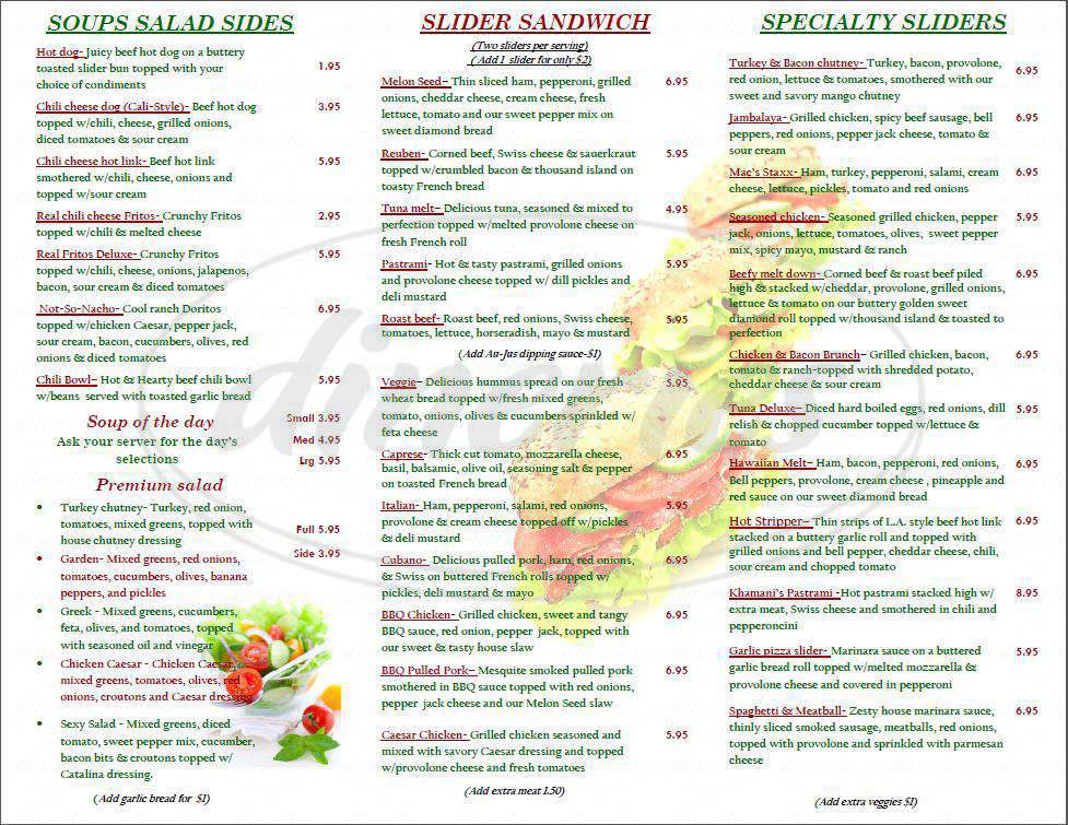 menu for The Melon Seed Deli & Frozen Yogurt