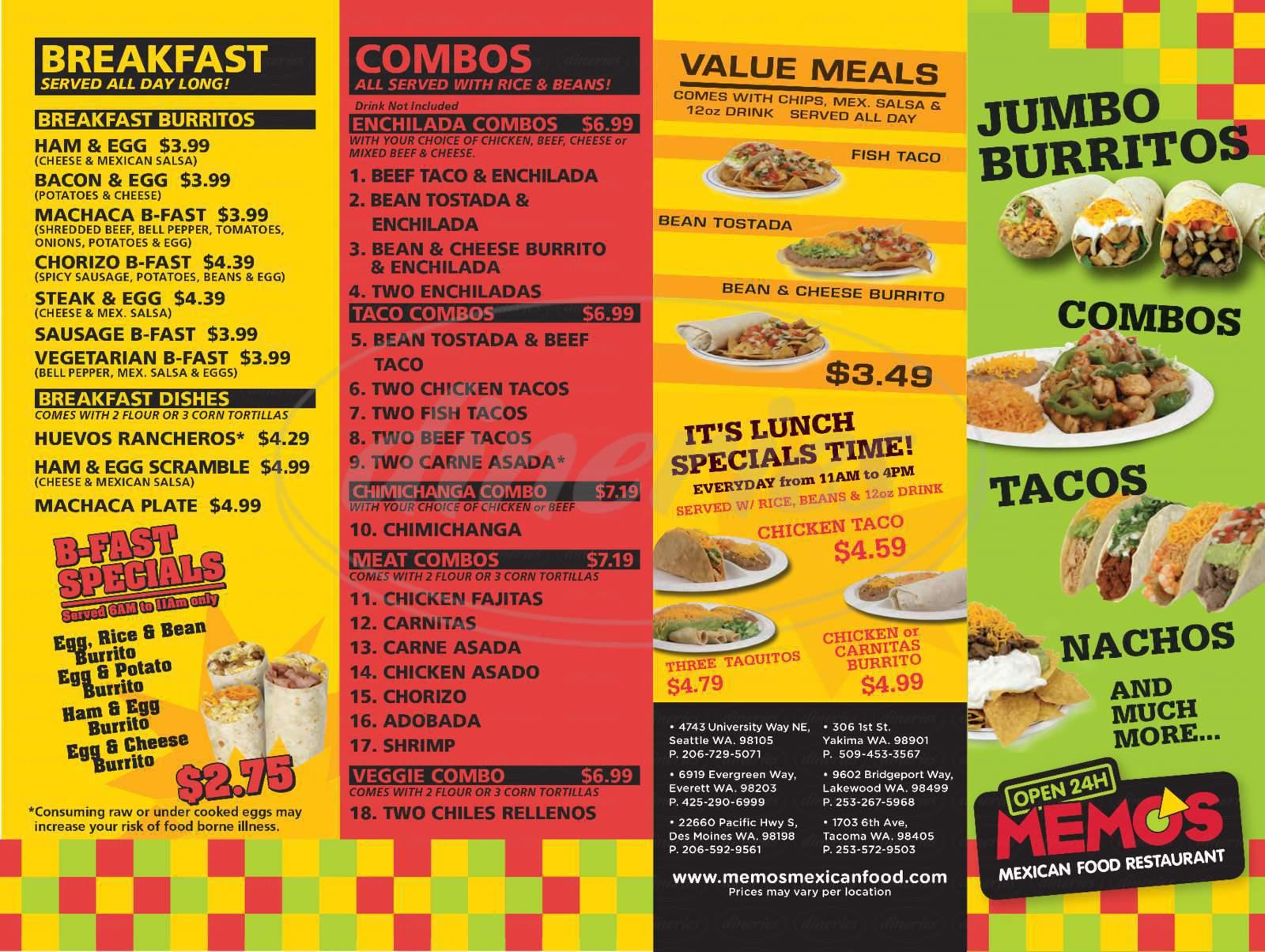 menu for Memo's Mexican Food Restaurant