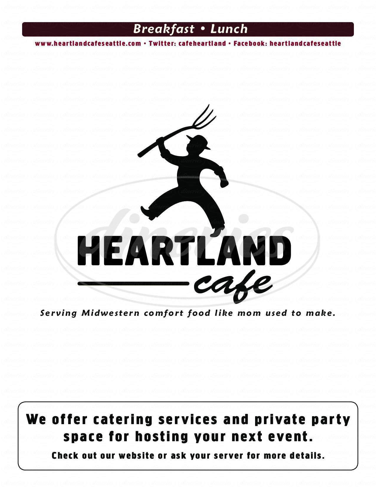 menu for Heartland Cafe