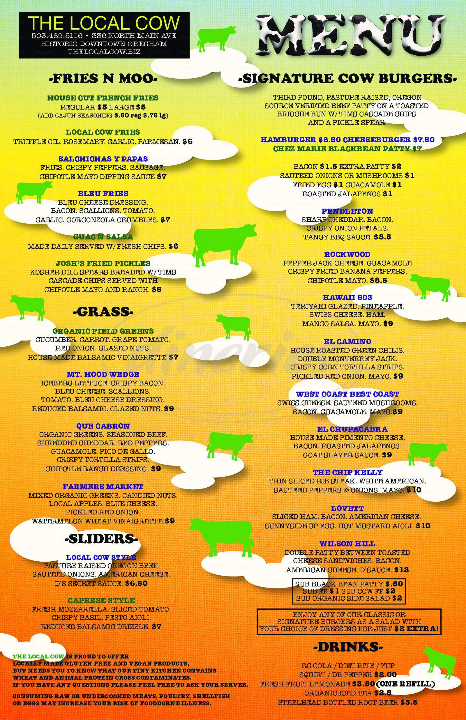 menu for The Local Cow