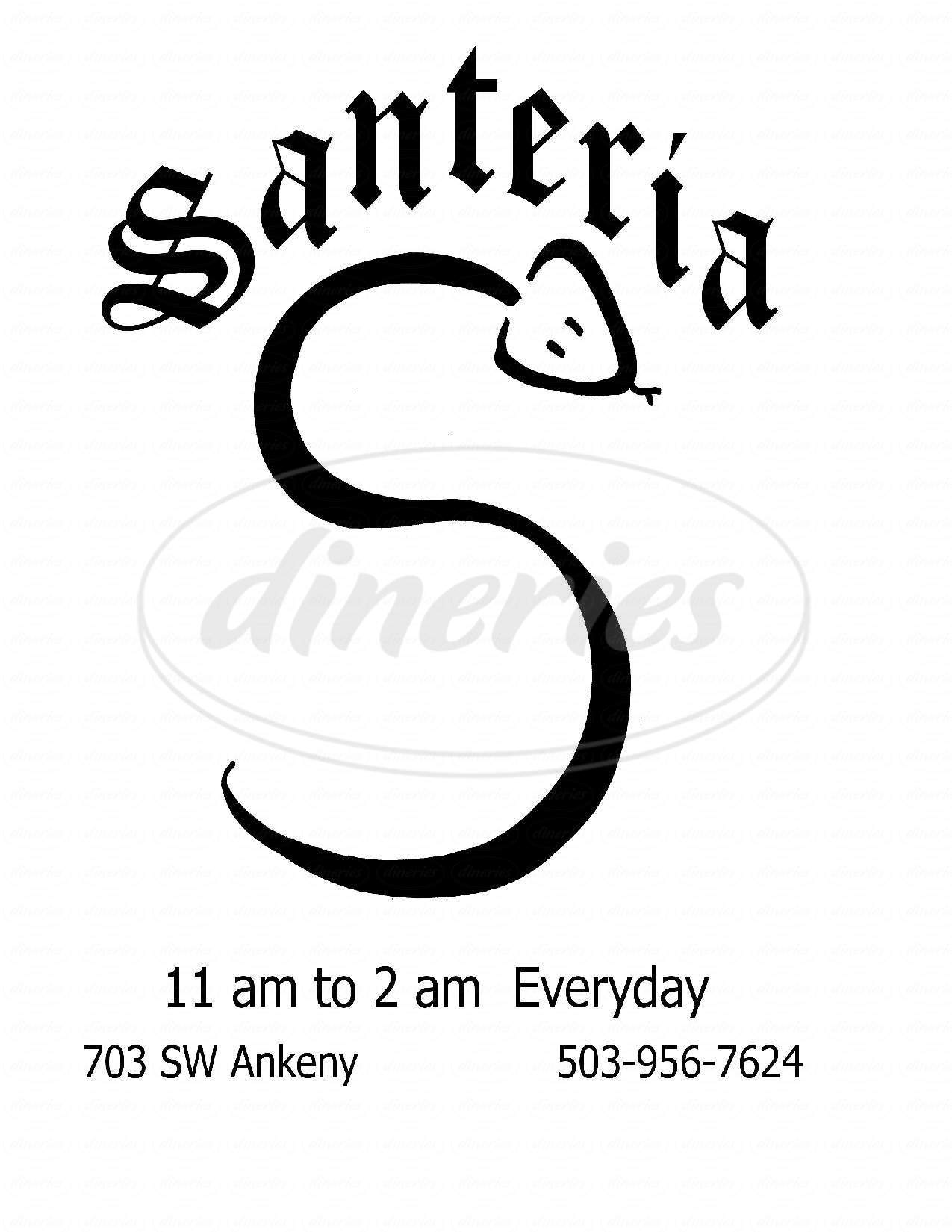 menu for Santería