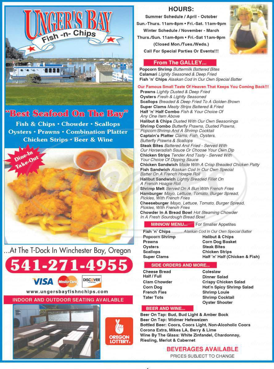 menu for Unger's Bay Fish and Chips