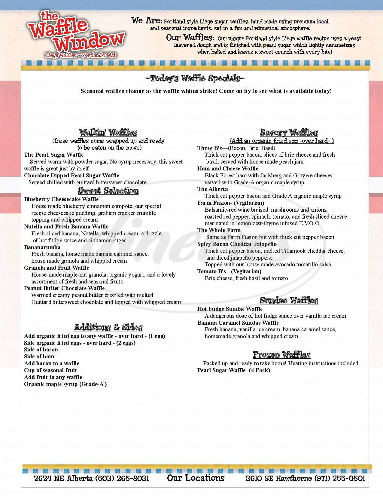 menu for The Waffle Window