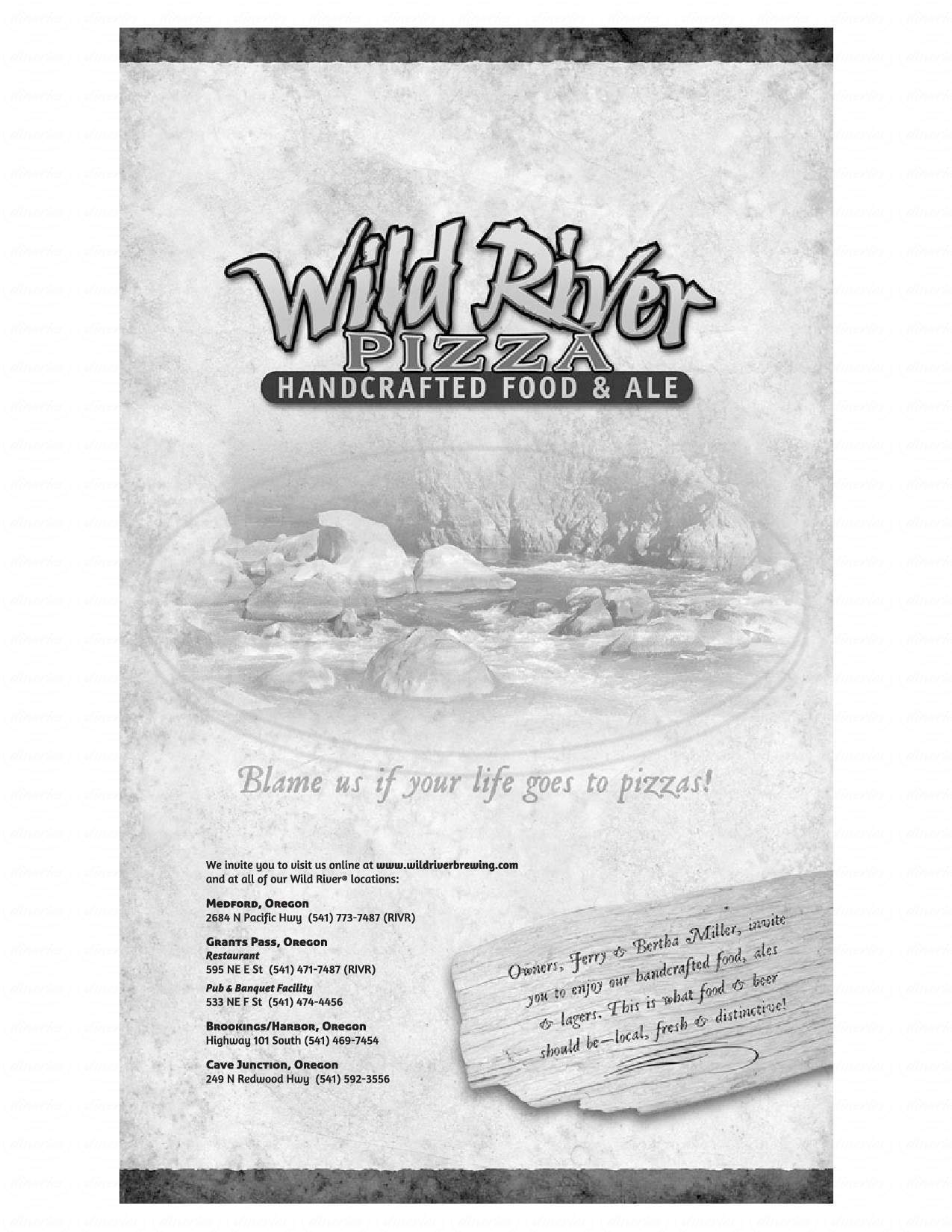 menu for Wild River Brewing & Pizza Co