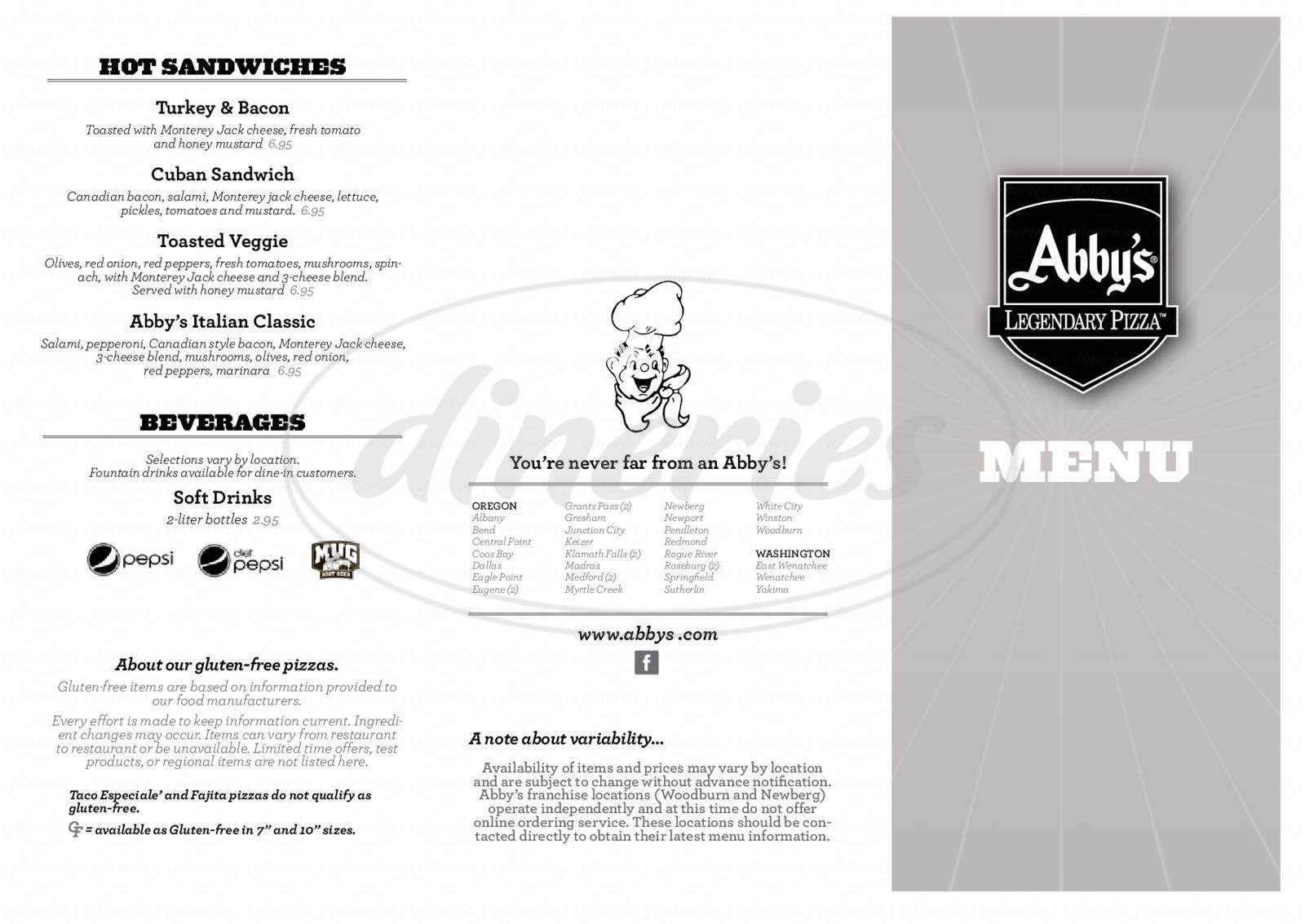 menu for Abby's Legendary Pizza