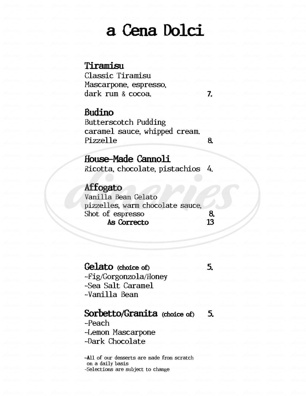menu for a Cena Ristorante