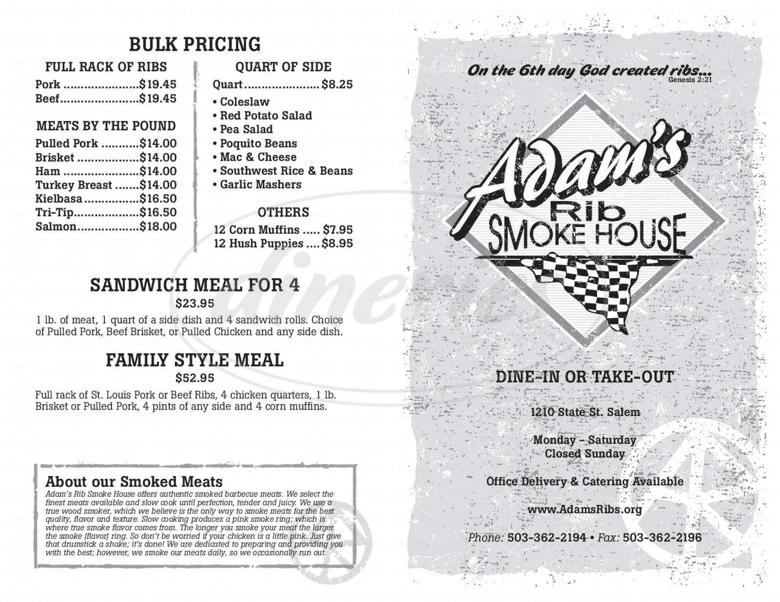 menu for Adam's Rib Smoke House