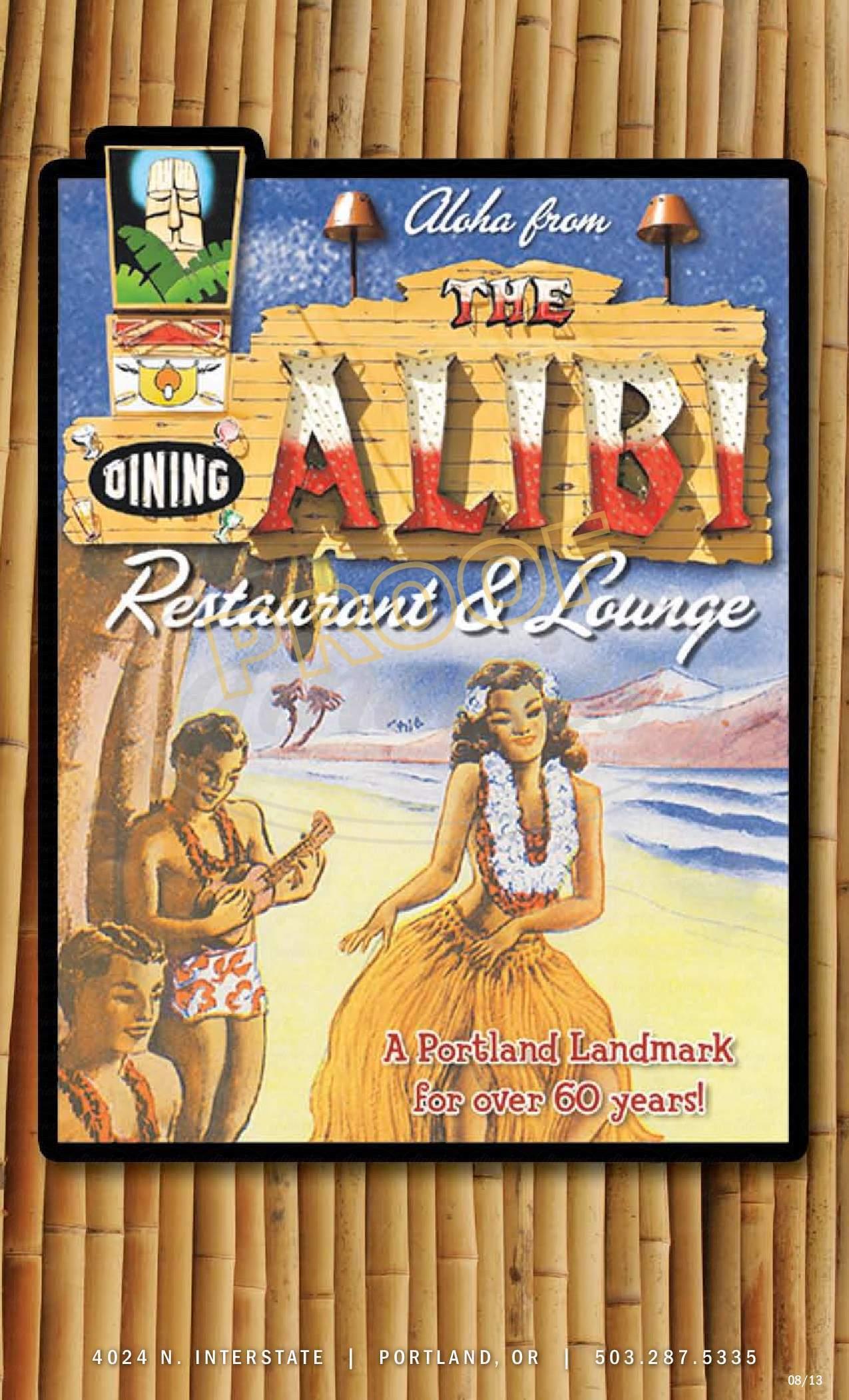 menu for Alibi Restaurant and Lounge